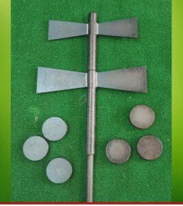 juego de la llave de Ourense con dos palas giratorias y 6 pellos de 500 a 550 gr de peso